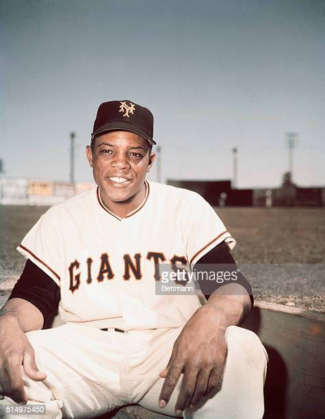 New York Giants outfielder Willie Mays wearing his team's uniform.