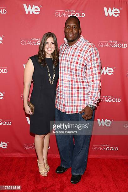 New York Giants player Kevin Boothe and wife Rosalie Boothe attend the WE tv screening for Sanya's Glam Gold at The Gansevoort Park Ave on July 15...