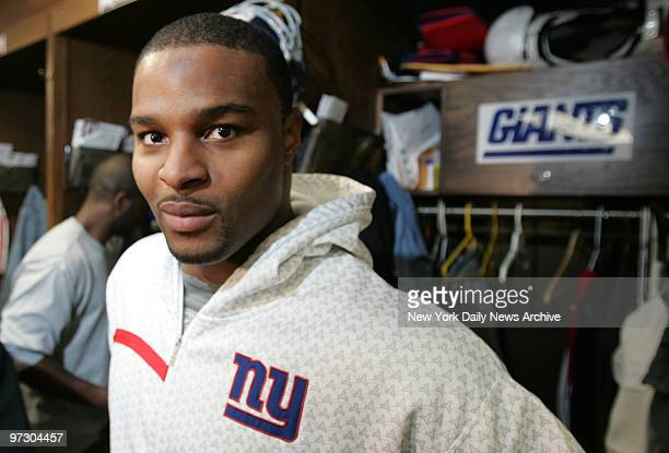 New York Giants press conference and practice. New York Giants defensive end Osi Umenyiora,