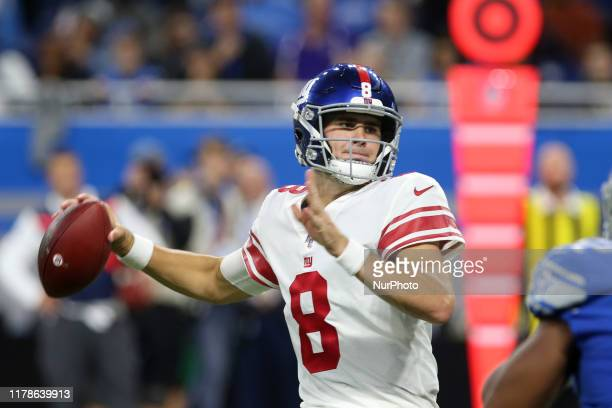 New York Giants quarterback Daniel Jones prepares to throw during the second half of an NFL football game against the Daniel Jones in Detroit,...