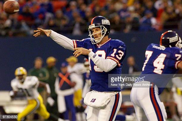 New York Giants' quarterback Danny Kanell gets off a pass in game against the Green Bay Packers at Giants Stadium