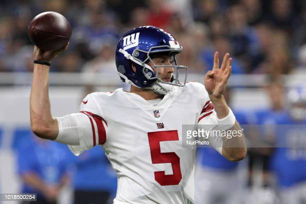 New York Giants quarterback Davis Webb throws the ball during the first half of an NFL football game against the New York Giants in Detroit Michigan...