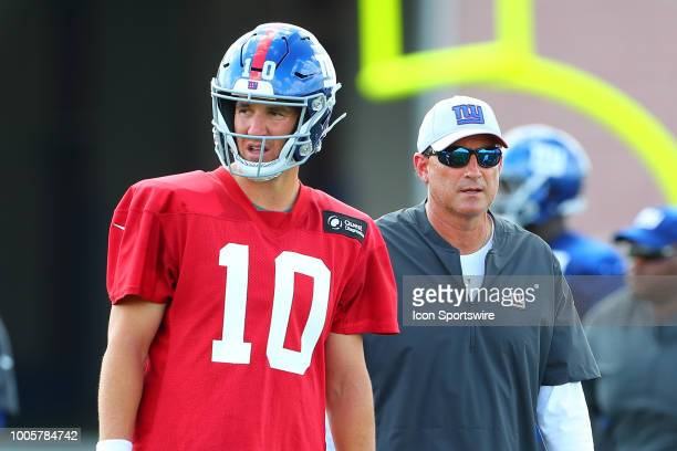 New York Giants quarterback Eli Manning and New York Giants offensive coordinator Mike Shula during New York Giants Training Camp on July 26 2018 at...