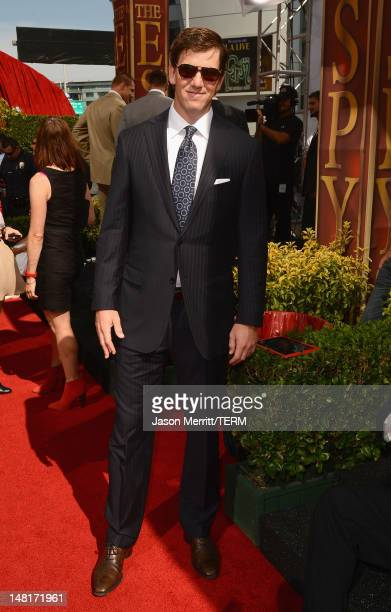New York Giants quarterback Eli Manning arrives at the 2012 ESPY Awards at Nokia Theatre LA Live on July 11 2012 in Los Angeles California
