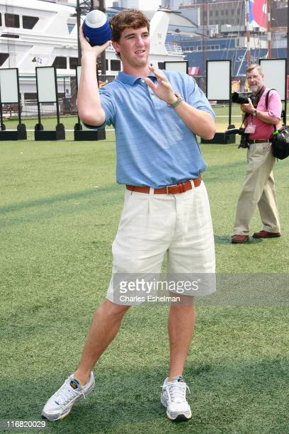 New York Giants Quarterback Eli Manning attends the NERF Father's Day Football Throwdown on June 14 2008 at the Pier 59 Golf Club at Chelsea Piers in...