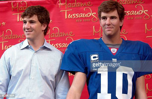 New York Giants Quarterback Eli Manning attends the unveiling of the Eli Manning wax figure at Madame Tussauds on September 23 2008 in New York City