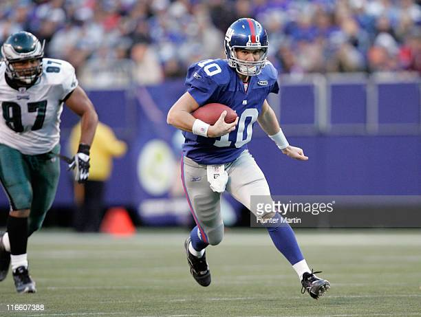 New York Giants quarterback Eli Manning in action against the Philadelphia Eagles at The Meadowlands in East Rutherford, New Jersey on Sunday,...