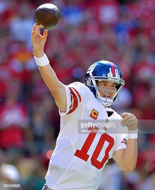New York Giants quarterback Eli Manning throws in the fourth quarter against the Kansas City Chiefs at Arrowhead Stadium in Kansas City Missouri on...