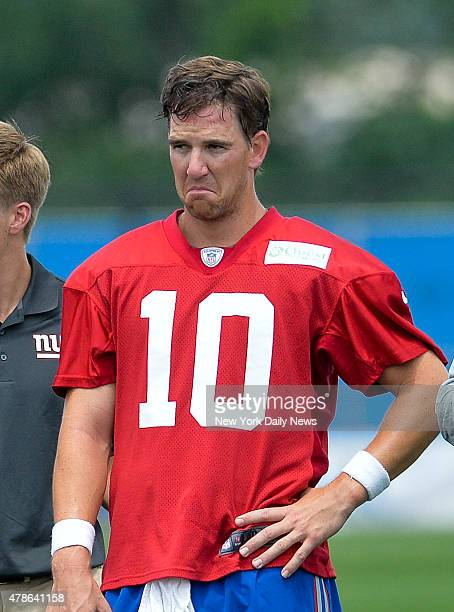 New York Giants quarterback Eli Manning with a scowl on his faceNew York Giants Training Camp @ Quest Diagnostics Training Center Tuesday July 22...