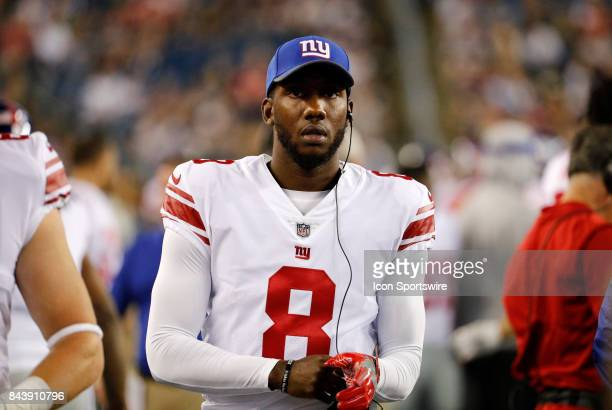 New York Giants quarterback Josh Johnson during an NFL preseason game between the New England Patriots and the New York Giants on August 31 2017 at...