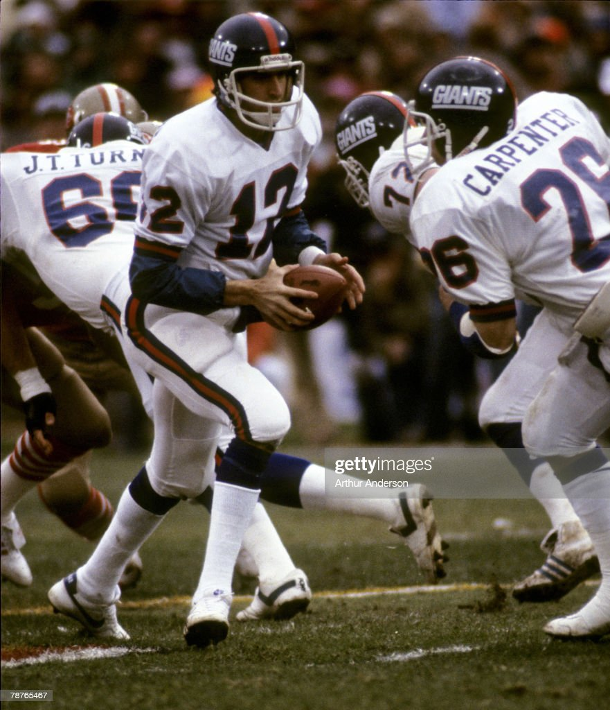 New York Giants quarterback Scott Brunner prepares to handoff to running back Rob Carpenter during the Giants 3824 loss to the San Francisco 49ers in...