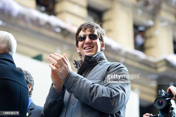 New York Giants quarterback & Super Bowl XLVI most valuable player Eli Manning attends the New York Giants Victory Parade following their Super Bowl...