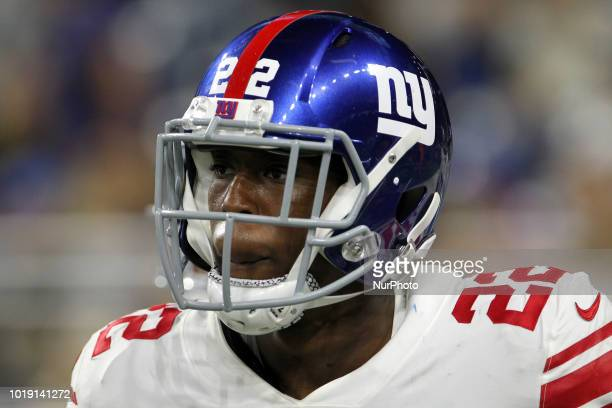 New York Giants running back Wayne Gallman after a play during the second half of an NFL football game against the New York Giants in Detroit...