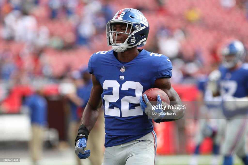 New York Giants running back Wayne Gallman (22) before the NFL game between the New York Giants and Tampa Bay Buccaneers on October 1, 2017, at Raymond James Stadium in Tampa, FL.