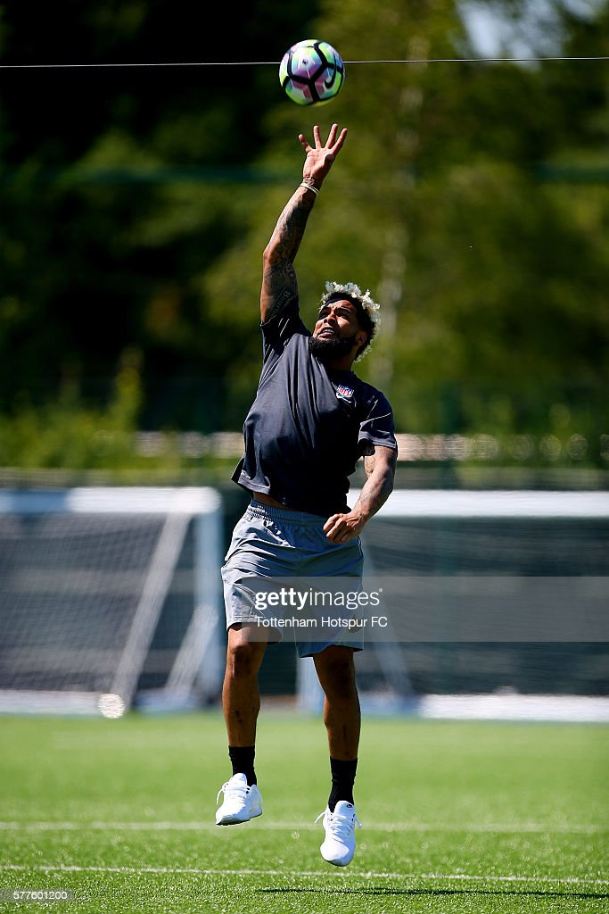 New York Giants star Odell Beckham Jr. at Tottenham Hotspur's Training Centre during an NFL promotional visit to London on July 19, 2016 in Enfield, England.