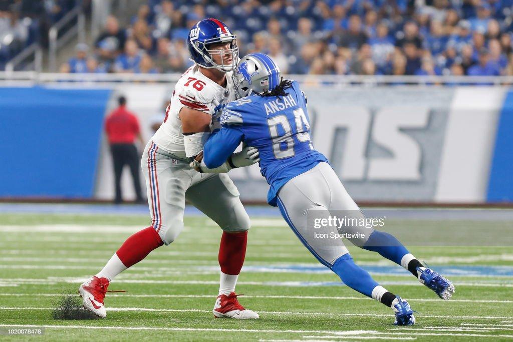 NFL: AUG 17 Preseason - Giants at Lions : News Photo