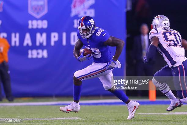 New York Giants tight end Jerell Adams during the National Football League game between the New York Giants and the New England Patriots on August 30...