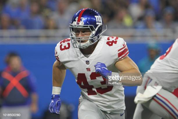 New York Giants tight end Shane Smith on the field during the first half of an NFL football game against the New York Giants in Detroit Michigan USA...
