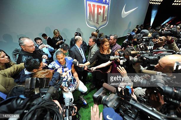 New York Giants Victor Cruz interviewed as Nike debuts the new NFL uniforms on April 3 2012 in New York City