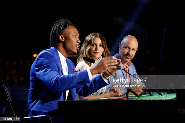 New York Giants wide receiver Brandon Marshall Actress Katharine McPhee and Comedian Maz Jobrani judge MVP MOST VALUABLE PERFORMER during a onehour...