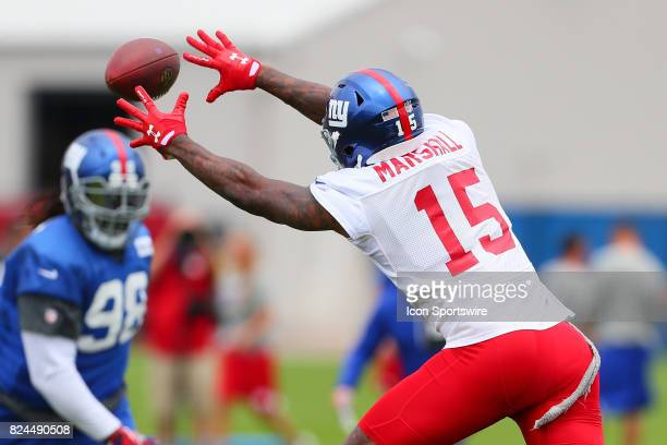 New York Giants wide receiver Brandon Marshall during 2017 New York Giants training camp on July 29 at Quest Diagnostics Center in East Rutherford NJ