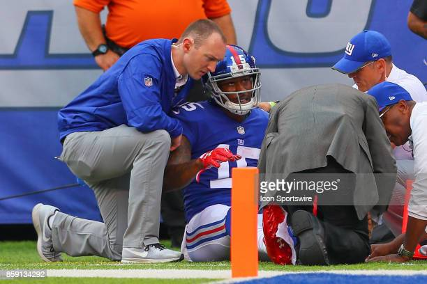 New York Giants wide receiver Brandon Marshall is injured during the National Football League game between the New York Giants and the Los Angeles...