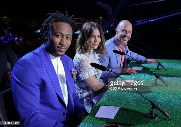 New York Giants wide receiver Brandon Marshall Katharine McPhee and Maz Jobrani look on before judging MVP MOST VALUABLE PERFORMER during a onehour...