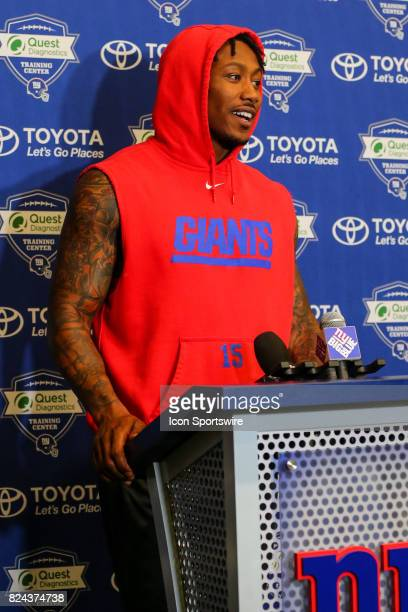 New York Giants wide receiver Brandon Marshall talks to the media after 2017 New York Giants training camp on July 29 at Quest Diagnostics Center in...