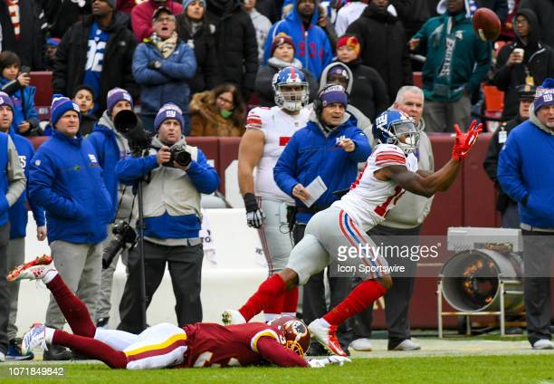 New York Giants wide receiver Corey Coleman cannot hang on to a pass against Washington Redskins cornerback Fabian Moreau on December 9 at FedEx...
