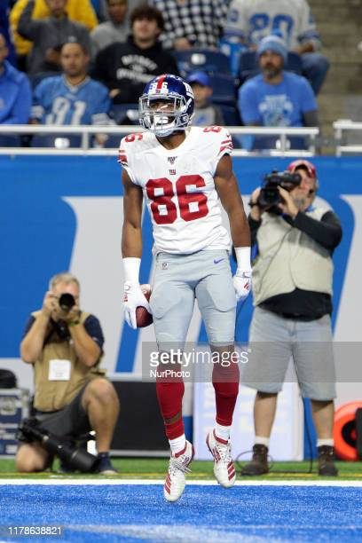New York Giants wide receiver Darius Slayton celebrates his touchdown during the first half of an NFL football game against the Detroit Lions in...