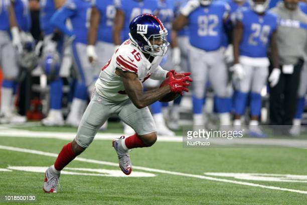 New York Giants wide receiver Hunter Sharp runs the ball during the first half of an NFL football game against the New York Giants in Detroit...