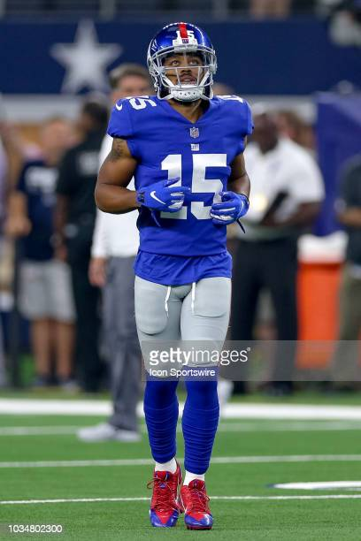 New York Giants wide receiver Kaelin Clay warms up prior to the game between the New York Giants and Dallas Cowboys on September 16 2018 at ATT...