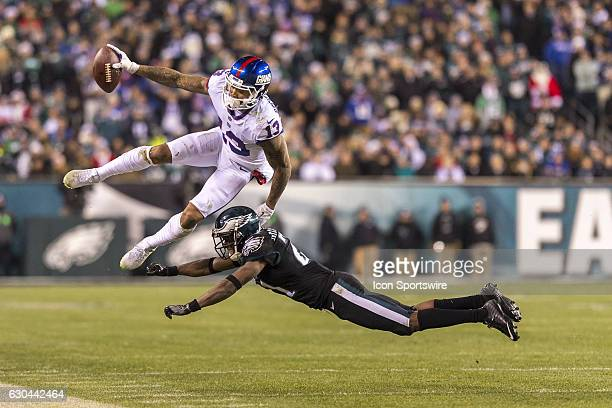 New York Giants wide receiver Odell Beckham in mid air makes the catch and stays in bounds during the game between the New York Giants and the...
