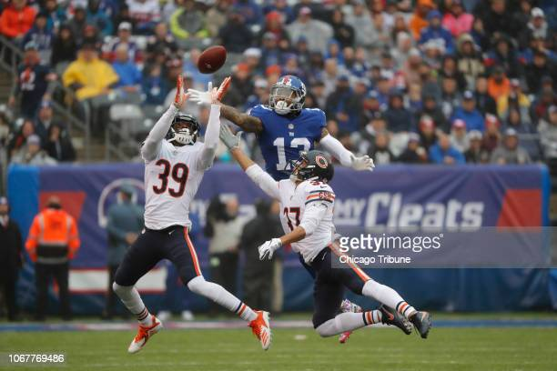 New York Giants wide receiver Odell Beckham is unable to make a catch as Chicago Bears free safety Eddie Jackson and Chicago Bears cornerback Bryce...