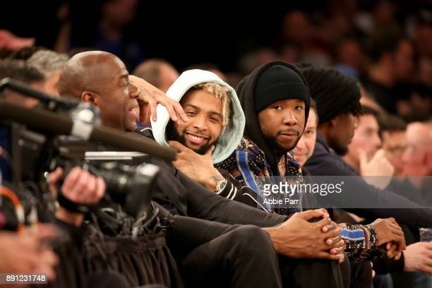 New York Giants Wide Receiver Odell Beckham Jr attends the New York Knicks v Los Angeles Lakers game at Madison Square Garden on December 12 2017 in...