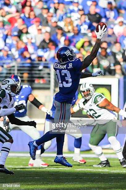 New York Giants wide receiver Odell Beckham makes a one handed catch across the middle during the first quarter of the game between the New York...