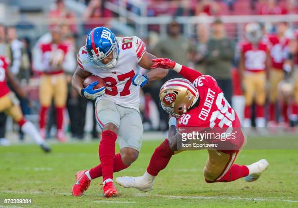 New York Giants wide receiver Sterling Shepard rams into San Francisco 49ers defensive back Adrian Colbert during the regular season game between the...