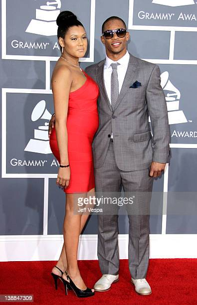 New York Giants wide receiver Victor Cruz and Elaina Watley arrive at The 54th Annual GRAMMY Awards at Staples Center on February 12, 2012 in Los...