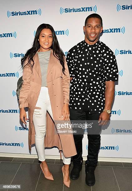 New York Giants' wide receiver Victor Cruz and girlfriend Elaina Watley visit SiriusXM Studios on April 13 2015 in New York City