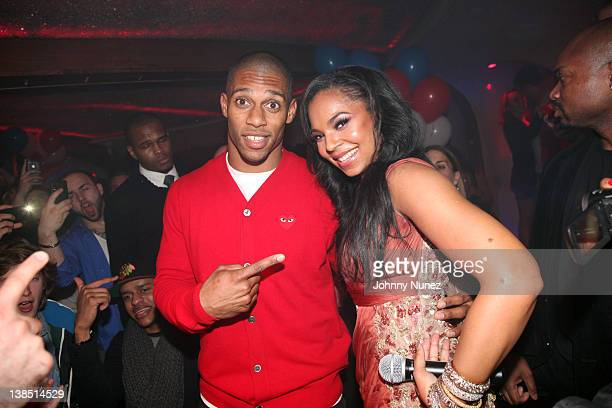 New York Giants wide receiver Victor Cruz and recording artist Ashanti visit Kiss & Fly on February 7, 2012 in New York City.