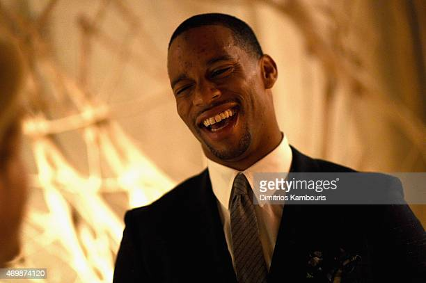 New York Giants' wide receiver Victor Cruz attends the 2015 Tiffany Blue Book dinner on April 15, 2015 in New York City.