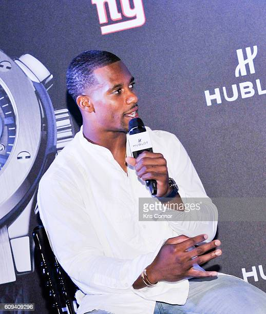"""New York Giants Wide Receiver Victor Cruz attends the """"Unique Luxury Tailgate Experience"""" event hosted by Hublot and the New York Giants on September..."""