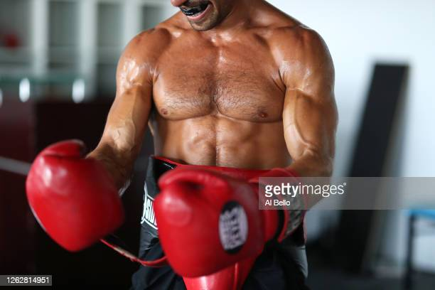 New York Golden Gloves boxer Dennis Guerrero gets ready to train during a final boxing workout at Jetty gym on July 30 2020 in Oceanside New York...