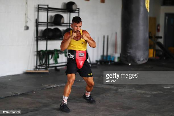New York Golden Gloves boxer Dennis Guerrero shadowboxes during a final boxing workout at Jetty gym on July 30 2020 in Oceanside New York Guerrero...