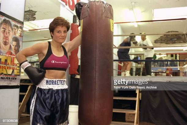New York Golden Gloves champ Denise Moraetes working out at Blue Velvet Boxing Gym