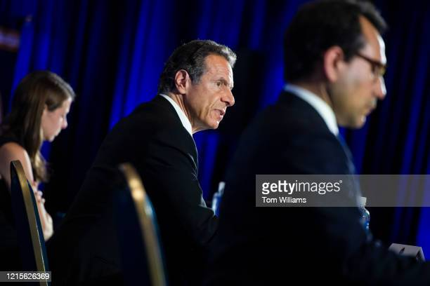 New York Gov Andrew Cuomo conducts a news conference on the COVID19 pandemic at the National Press Club in Washington DC after a meeting with...