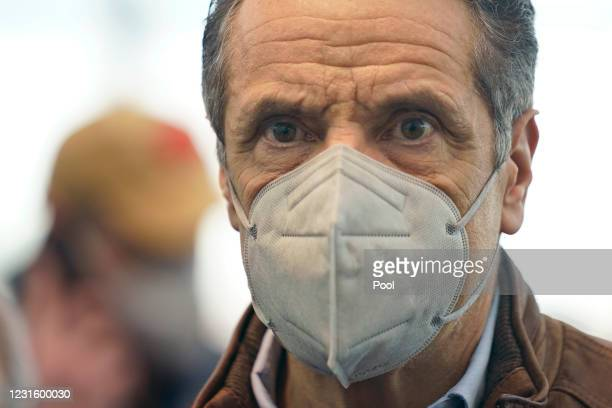 New York Gov. Andrew Cuomo greets people after speaking at a vaccination site at the Jacob K. Javits Convention Center on March 8, 2021 in New York...