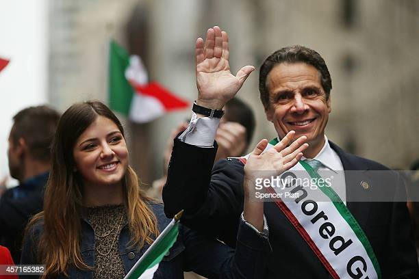 New York Gov Andrew Cuomo marches in the annual Columbus Day parade with his daughter Michaela on October 13 2014 in New York City Organized by the...
