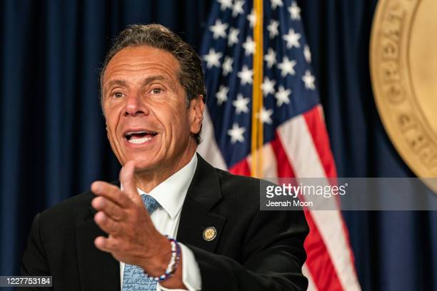 New York Gov Andrew Cuomo speaks during the daily media briefing at the Office of the Governor of the State of New York on July 23 2020 in New York...