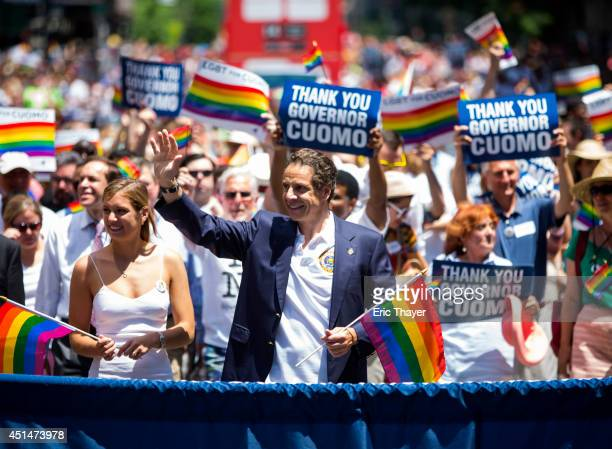 New York Gov Andrew Cuomo walked down 5th Avenue during the 2014 Gay Pride March on June 29 2014 in New York City Thousands of marchers attended the...